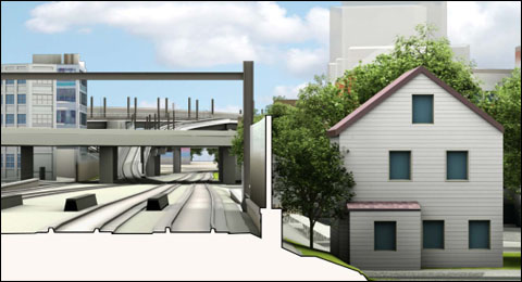 Green Line extension noise wall
